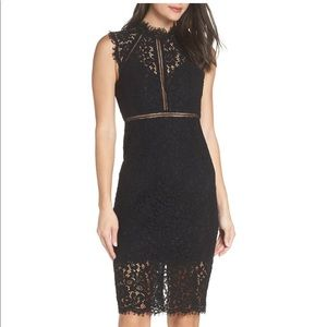 Bardot Lace Sheath Dress- Olive